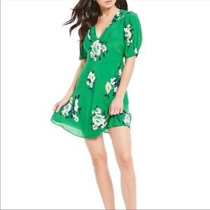 NWT Free People Green Floral Mini Dress Size 6